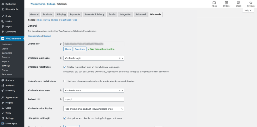 WooCommerce Wholesale Pro plugin settings