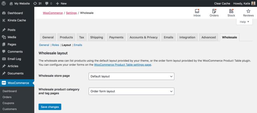 WooCommerce wholesale layout settings