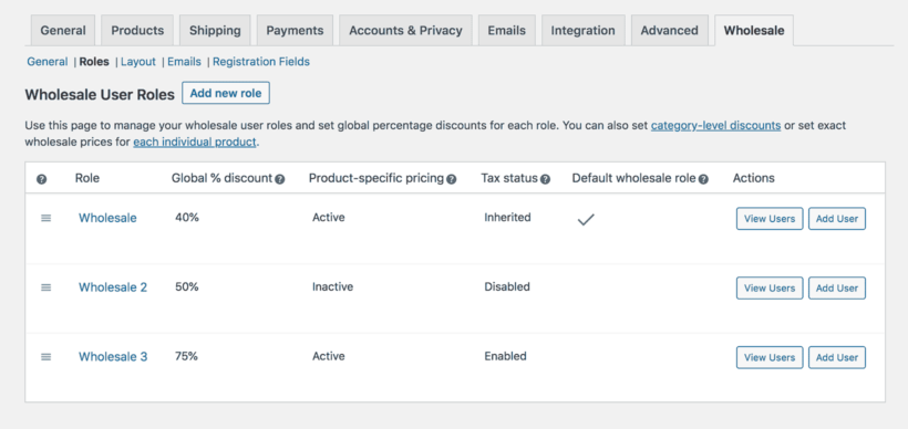 WooCommerce wholesale roles settings page