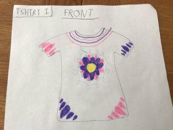 Draft flower t-shirt sketch