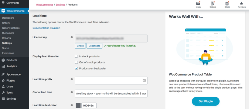 WooCommerce Lead Time plugin settings
