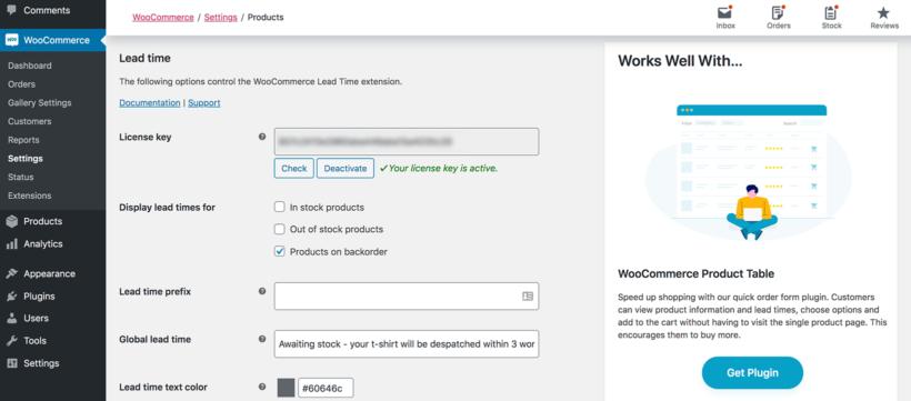 WooCommerce Lead Time plugin settings