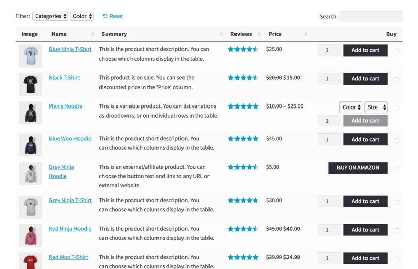 Gutenberg for WooCommerce Product Table block