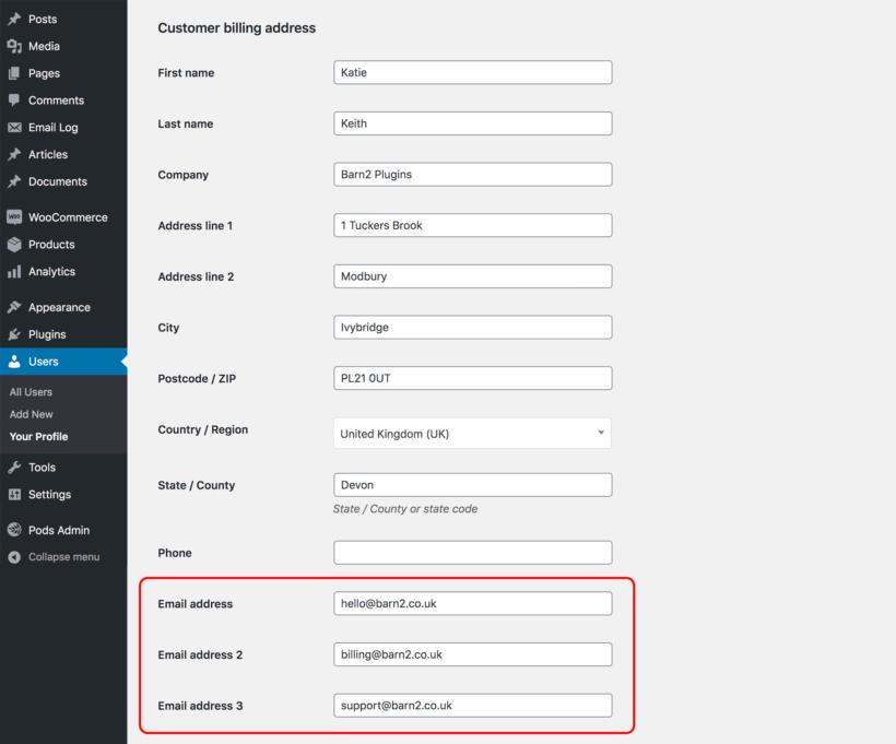 WooCommerce multiple email addresses for customer
