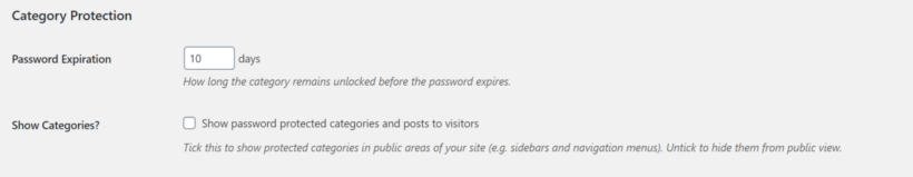 Category protection settings in Password Protected Categories plugin