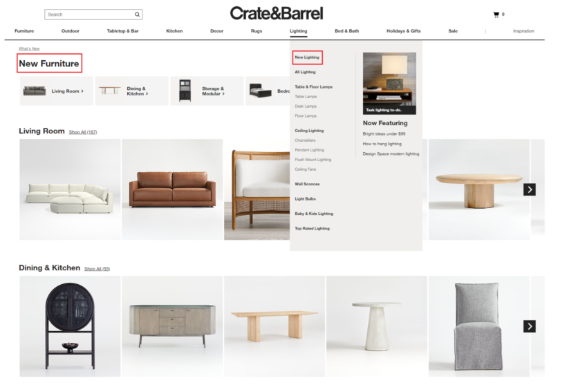 Crate and Barrel products page