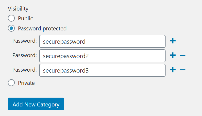Setting multiple passwords to hide WordPress posts and categories