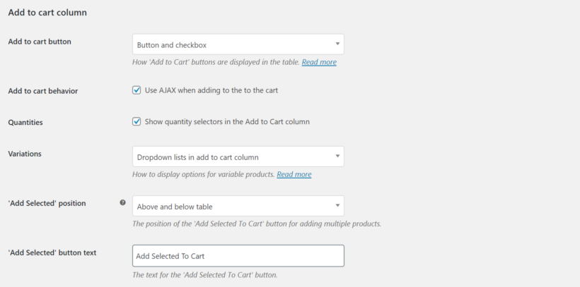 WooCommerce Product Table add to cart column settings