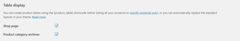 WooCommerce Product Table table display settings