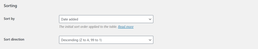 WooCommerce Product Table settings sorting options
