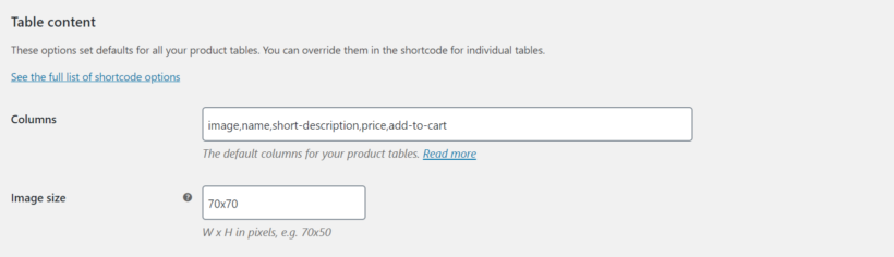 WooCommerce Product Table settings table content