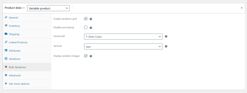 WooCommerce Bulk Variations settings