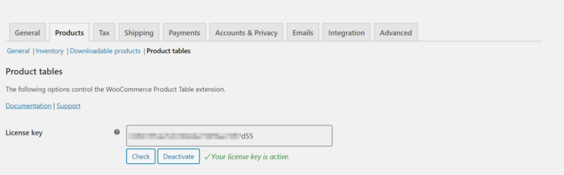 WooCommerce Product Table license key