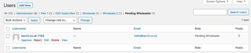Bulk approve pending wholesaler users