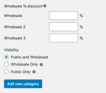Wholesale category discount visibility options