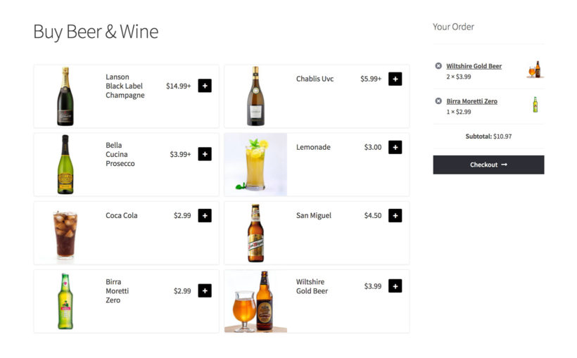 WooCommerce sell beer and wine shop