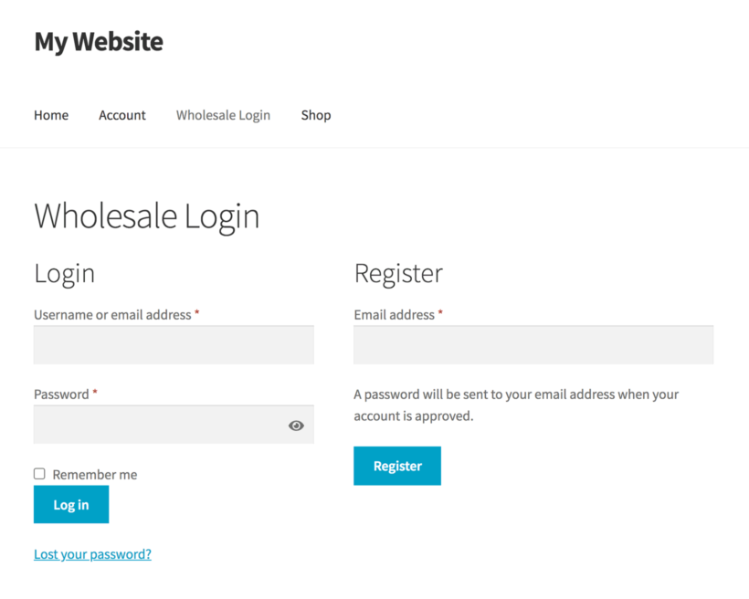 WooCommerce wholesale registration form with moderation