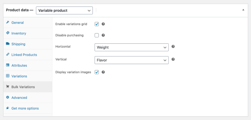 WooCommerce Bulk Variations plugin settings