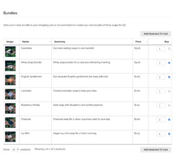 WooCommerce product bundles in product table
