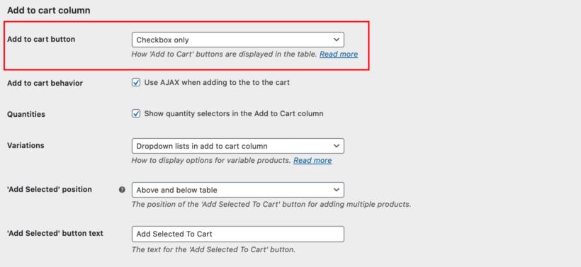 WooCommerce Product Table settings