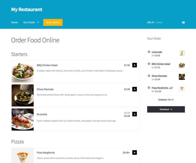 Compare WooCommerce Restaurant Ordering with WooCommerce Product Table