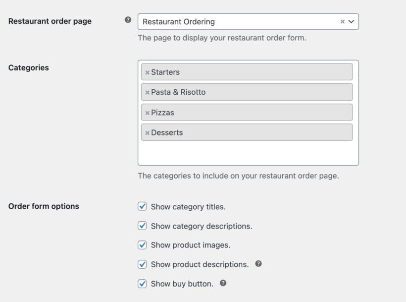 restaurant ordering settings page