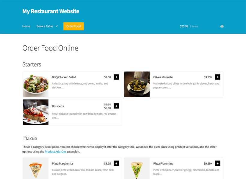 WooCommerce Restaurant Food Order Form
