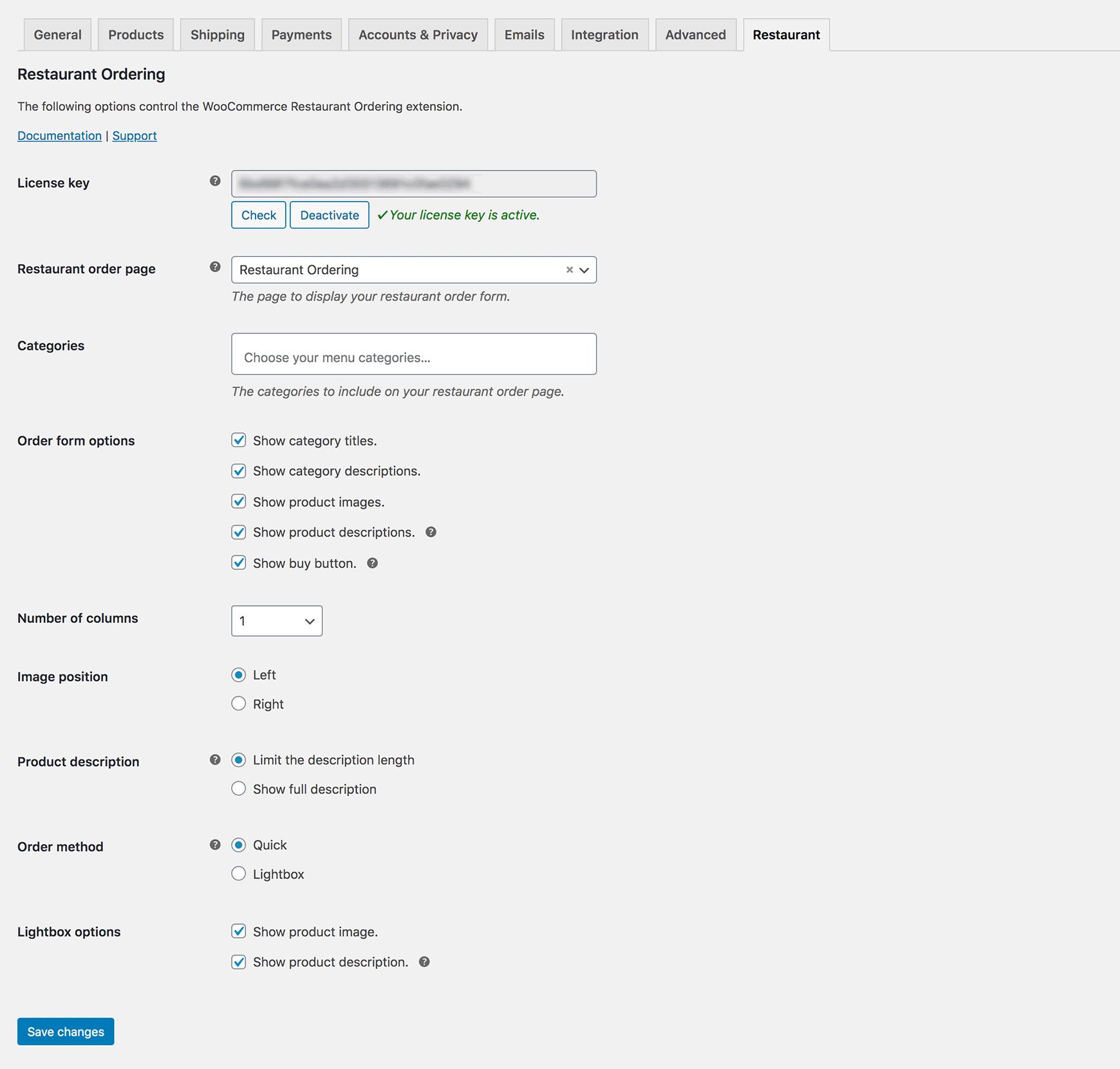WooCommerce Restaurant Ordering Plugin settings