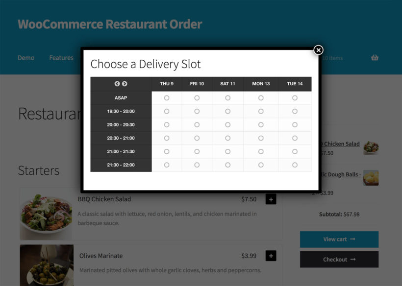 WooCommerce restaurant delivery slot popup