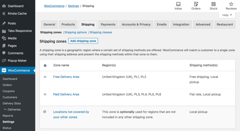 WooCommerce shipping zones restaurant delivery collection