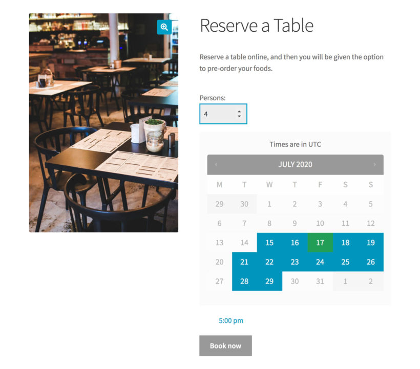 WooCommerce table reservation booking page