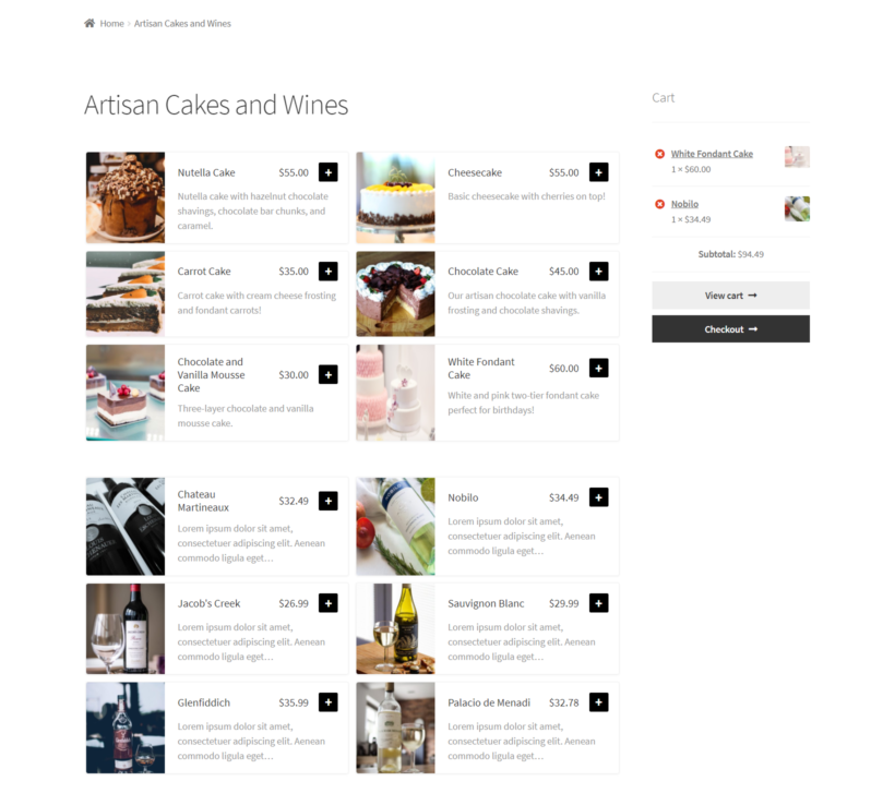 Products from two categories restaurant ordering