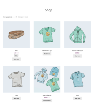 Main shop page for guest users