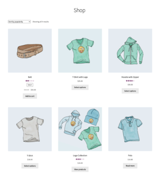 Main shop page for customers