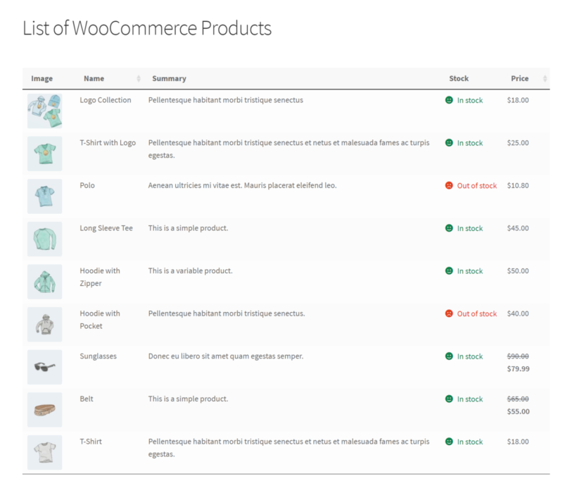 Print WooCommerce product list preview