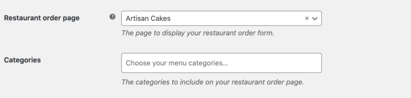 Food order page settings