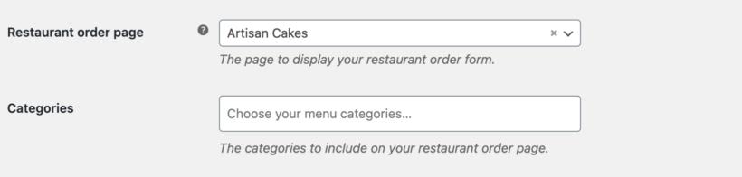 Food order page settings