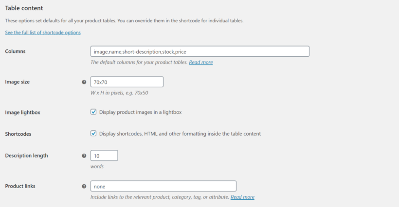 WooCommerce Product Table table content settings