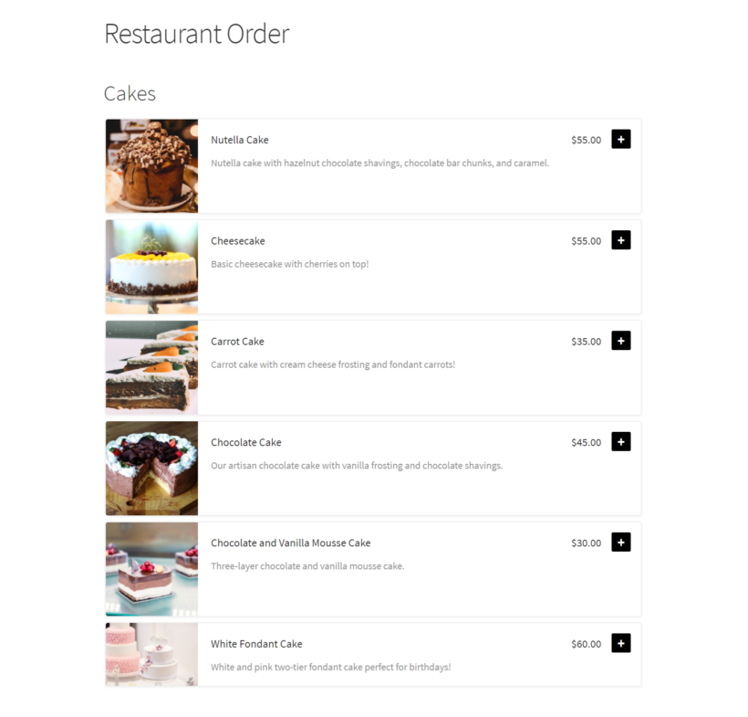 One-page food order form