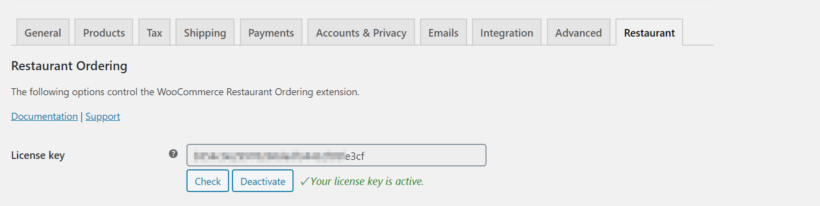 WooCommerce Restaurant Ordering license key