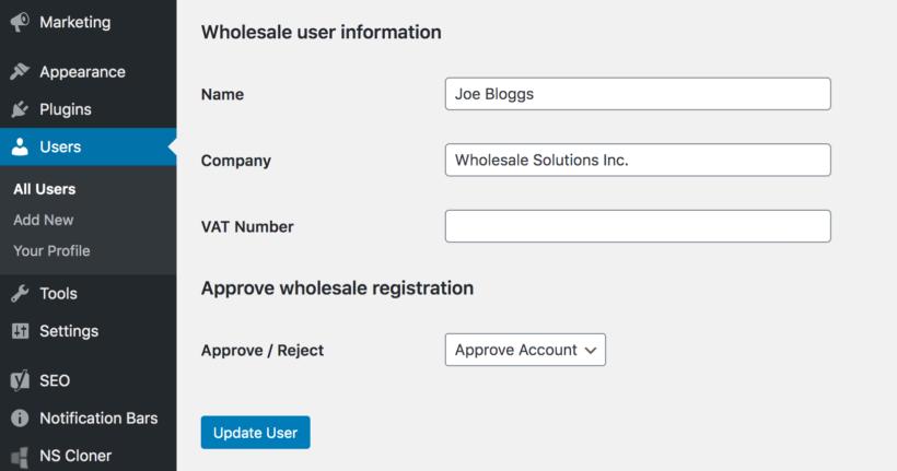 Wholesale user information from registration form
