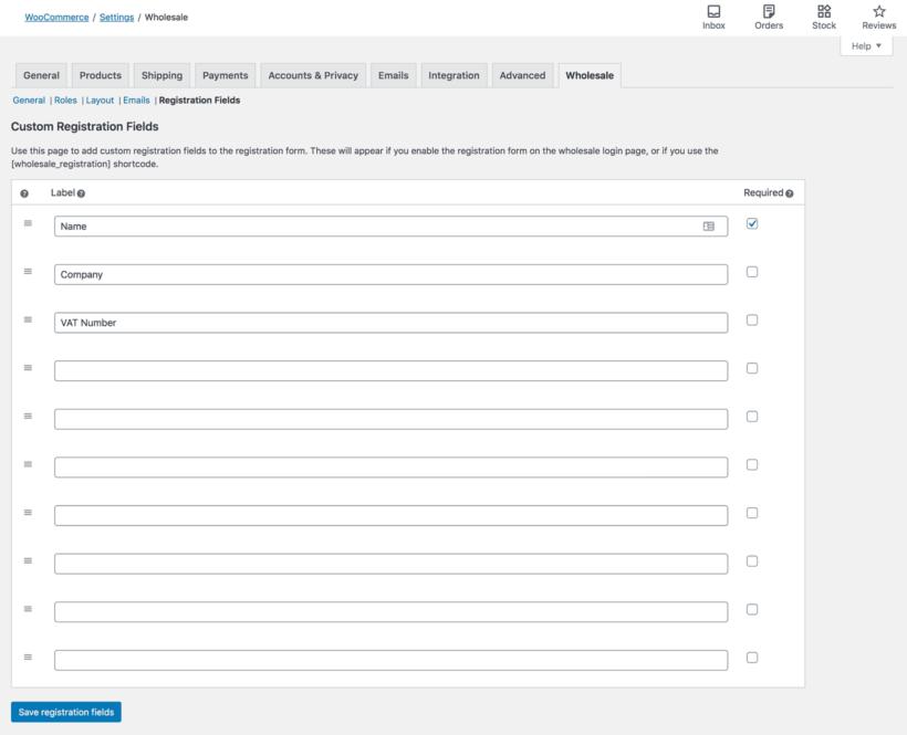 WooCommerce edit wholesale registration form