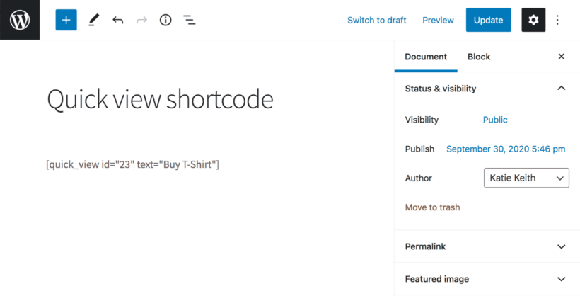 How to use WooCommerce Quick View Pro shortcode