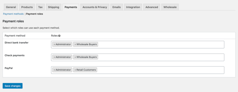 WooCommerce payment roles