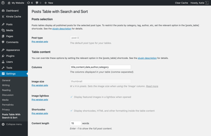 Posts Table with Search & Sort settings