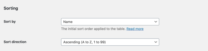 WooCommerce Product Table sort options