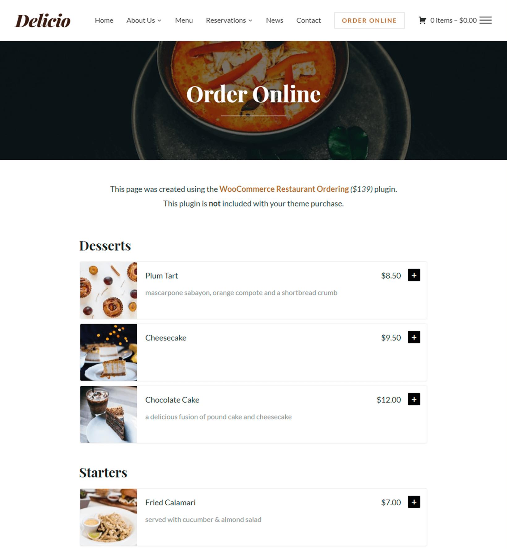 Delicio theme uses Woocommerce Restaurant Ordering plugin by Barn2