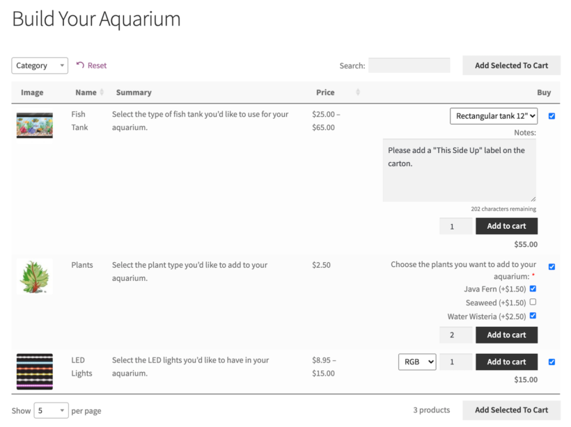 WooCommerce composite product with product add-ons