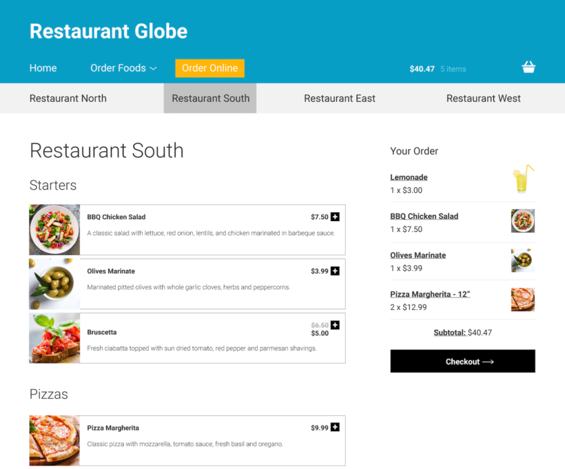 Restaurant chain order online system