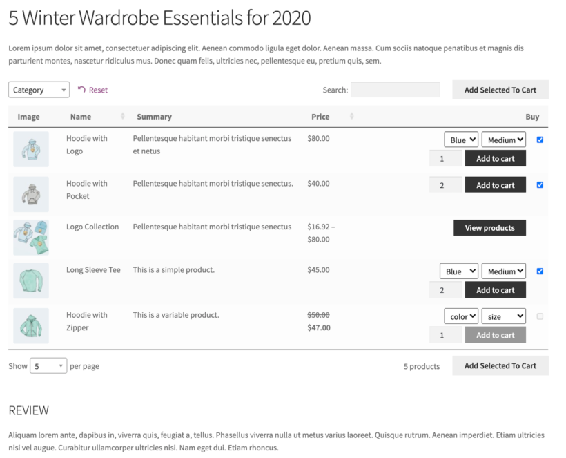 WooCommerce Product Table preview